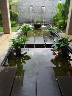 A superb fish pond design will enable the individual to plan a fish pond which is going to be attractive and won't be hard to look after. You MUST provide them water when they're eating. Indoor Water Features, Water Features In The Garden, Pond Design, Landscape Design, Water Walls, Garden Pictures, Landscape Pictures, Backyard Landscaping, Landscaping Ideas