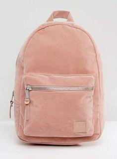 Trendy Women's Bags : Herschel Grove Pink Velvet Backpack by Herschel Supply Co. Backpack by Herschel… Herschel Supply Co, Mini Backpack, Leather Backpack, Leather Briefcase, Laptop Backpack, Pretty Backpacks, Stylish Backpacks, Fashion Bags, Fashion Backpack