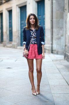 floral blazer street style shorts - Google Search