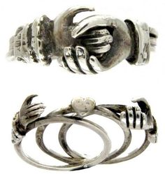 """A """"gimmel"""" ring, a form of secret-message jewelry, usually has two or three rings that interlock to become one."""