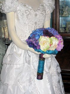 Magical Blue Silk Bouquet  Reserved by whiteriver51 on Etsy, $299.00