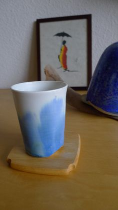 Handmade ceramic cup. Matt white with abstract paintings from crystal glaze by OrientalSpectrum on Etsy