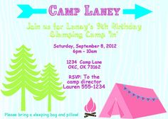 Glam Camping Invitation - Girls Camping Party - PRINTABLE Invitation and Thank You Card - Glamping