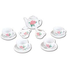 This adorable Ceramic Tea Set includes thirteen pieces adorned with pink flowers and green leaves.