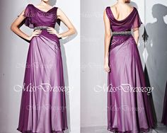 Straps V Neck with Crystal Long Purple Chiffon Evening Dresses, Prom Dress, Evening Gown, Wedding Party Dress, Prom Gown, Formal Gown $244.17