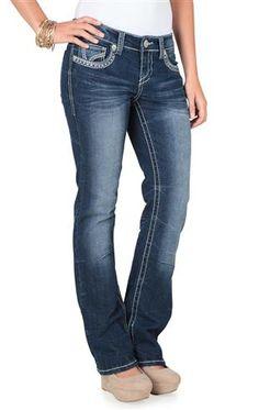 ariya curvy slim boot cut jean in dark blasted wash with embroidery