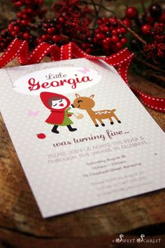 LITTLE Red Riding Hood Printable Invitation by SweetScarletDesigns, $12.00