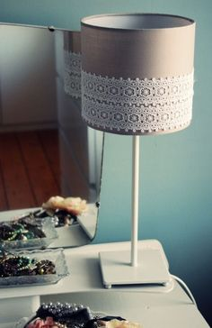 Step by step striped lampshade pinterest hgtv create and easy diy lace lampshade for the microscope lamp burlap and lace need for night stand aloadofball Gallery