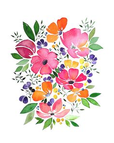 Watercolor Flowers Discover Whimsical flowers watercolour painting - pink and orange - art print wall art - Mothers day Easy Watercolor, Watercolor Cards, Watercolour Painting, Watercolor Flowers, Drawing Flowers, Painting Flowers, Orange Art, Blue Art, Flower Step By Step
