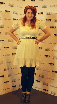 Stephanie from Stephanie Dreams, The blogger. Wearing our Lace & Pleat Dress in White. Shop here:- http://www.pussycatlondon.com/women-dresses-1/lace-and-pleat-dress-1.html?color=Cream=small  Visit Stephanies lovely blog here:- http://www.stephaniedreams.com/2012/12/in-my-wardrobe-falling.html