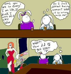 fat bunny, roger rabbit, jessica rabbit, dating, bars, cartoon, comic