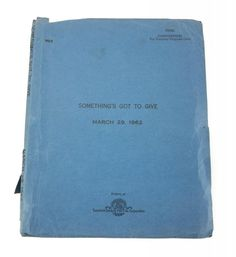 MARILYN MONROE WORKING SCRIPT FOR SOMETHING'S GOT TO GIVE - Current price: $7500