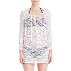 Polo Ralph Lauren Crocheted Cover-Up ($75) ❤ liked on Polyvore featuring swimwear, cover-ups, white, cover up swimwear, crochet cover up swimwear, lace beach cover up, white swim cover up and white crochet cover up