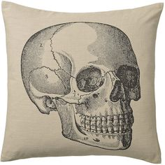 Day Birger Et Mikkelsen Cushion Cover - Skull (90 AUD) ❤ liked on Polyvore featuring home, home decor, throw pillows, pillows, skulls, neutral, day birger et mikkelsen, skull home accessories, skull throw pillows and skull home decor