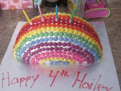 Rainbow Birthday Cake- 12 inch cake pan,cut cake in half, stand up right and frost it together. Pin it with tooth picks and leave it over night. Take out the tooth picks and frost it.Then cover with Smarties like the rainbow. It was a big hit with my 4 year old.