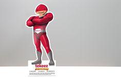 Tekeez.it Superhero Tim branded desktop pop-up stand