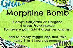 morphine bomb with doterra oils Essential Oils For Pain, Essential Oil Uses, Natural Essential Oils, Young Living Essential Oils, Natural Oils, Essential Oils For Fibromyalgia, Living Oils, Doterra Essential Oils, Aromatherapy