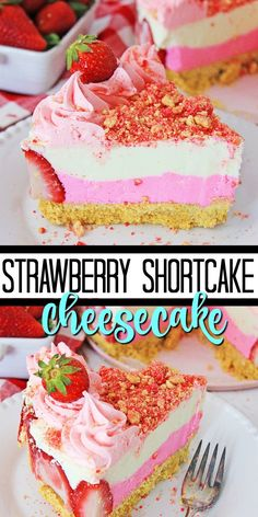 Wow your family and friends with this out of this world Strawberry Shortcake Cheesecake. This dessert combines creamy cheesecake and strawberry shortcake to bring you a delectable treat! Strawberry Crunch Cake, Strawberry Shortcake Cheesecake, Homemade Strawberry Shortcake, Strawberry Dessert Recipes, Raspberry Cheesecake, Mini Desserts, No Bake Vanilla Cheesecake, Homemade Cheesecake, Cheesecake Recipes