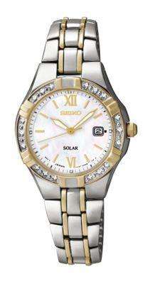 Seiko Women's Solar Diamond Accent Two-Tone Stainless Steel Bracelet Watch - Women's Watches - Jewelry & Watches - Macy's Rolex Watches, Watches For Men, Seiko Solar, Solar Watch, Diamond Glitter, Gold Plated Bracelets, Stainless Steel Bracelet, Bracelet Watch, Jewelry Watches