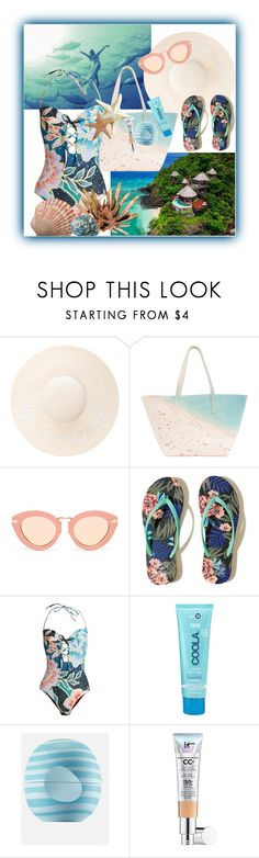"""""""Beach Day"""" by mizzura ❤ liked on Polyvore featuring Eugenia Kim, Paige Gamble, Karen Walker, Hollister Co., Mara Hoffman, COOLA Suncare, Eos and It Cosmetics"""