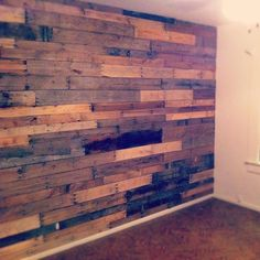 Our pallet wall Drum Room, Pallet Boards, Writers, Hardwood Floors, Cottage, Craft Ideas, Studio, Wall, Crafts