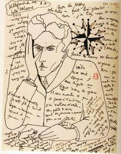 Self-Portrait by Jean Cocteau in a letter to Paul Valéry, October From Belles Lettres: Manuscripts Of The Masters Of French Literature, Roselyne de Ayala and Jean-Pierre Guéno. Jean Cocteau is my all time favorite Harlem Renaissance, Illustrations, Illustration Art, Art Postal, Jean Cocteau, Poster Design, Envelope Art, Photocollage, Mail Art
