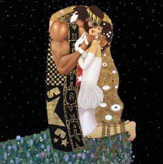 "Yes, this is a painting of ""Macho Man"" Randy Savage and Miss Elizabeth in the style of Gustav Klimt's ""The Kiss.""  It may be the best thing ever.  The acrylic on black velvet just takes it to a whole new level."