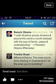 Scottish Comedian Frankie Boyle makes a very valid point on Guantanamo wrt Muslims (both detainees of Guantanamo & the population being bombed in the Middle East.