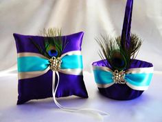Purple and Turquoise Wedding Centerpieces | Purple Turquoise Silver Flower Girl Basket Ring... - Rings - Wedding ...