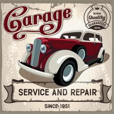 Retro auto service and repair poster vector 02