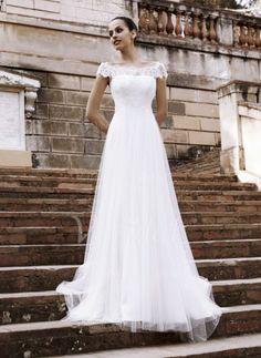 Bröllopsklänningar - $173.99 - A-linjeformat Off-shoulder Ringning Chapel släp Tyll Bröllopsklänning med Spets (0025059984)