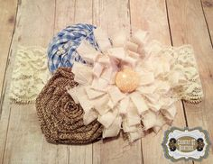 Shabby Chic Handmade Fabric Flower Trio with by CountryQTBowtique