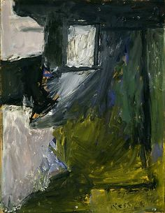 Untitled (1957) by Ukrainian-born American Abstract Expressionist painter Milton Resnick (1917-2004). Oil on paper on board, 26 x 20 in. via Michael Rosenfeld Art