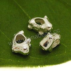 Metal beads, 925 sterling silver European bead in silver color, Hippo, Approx 12x8.7x6.3mm, Hole: Approx 4.5mm, 10 pieces per bag, Sold by bags