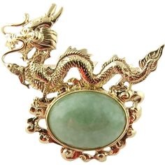 Sanuk 14K Yellow Gold and Jade Dragon Pin Brooch This item found at www.rubylane.com is currently listed to be on sale at 30% off starting 7/19/16 at 8 am PDT. #RubyRedTagSale @rubylanecom