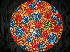 """Color Blindness"" Table 20"" Diameter  2008 Royal Mosa ceramic tile and black grout  20"" in diameter"