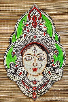 Durga Durga Painting, Kerala Mural Painting, Indian Art Paintings, Madhubani Painting, Kalamkari Painting, Mandala Artwork, Mandala Drawing, Fabric Painting, Fabric Art