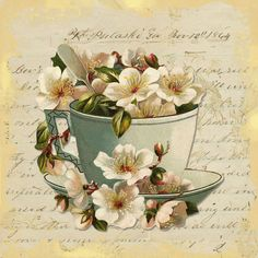 Claire Pryce - Cup and copy. Vintage Diy, Decoupage Vintage, Decoupage Paper, Vintage Cards, Vintage Images, Fun Crafts, Arts And Crafts, Tea Art, Printable Paper