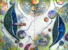 Floating leaves mixed media art journal page by Sanda Reynolds… Artist Journal, Artist Sketchbook, Art Journal Pages, Art Journaling, Life Journal, Junk Journal, Bullet Journal, Mixed Media Journal, Mixed Media Canvas