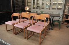 Vintage Wooden Chairs from Baumann, 1960s, Set of 6 for sale at Pamono