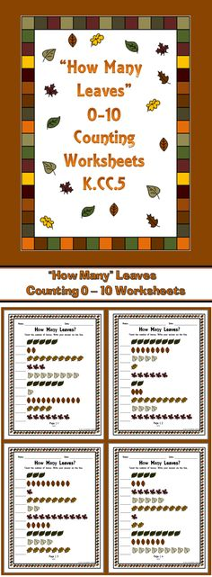 This set of worksheets has students counting leaves that are in a straight line. Numbers range from 1 to 10. There are ten questions on each sheet  and an answer key for you. Includes 8 pages, including an answer key. Great for classwork or homework.