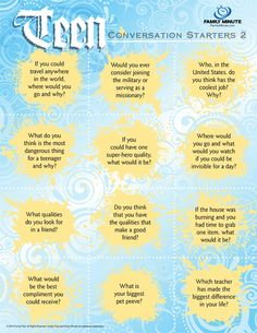 teen conversation starters | Conversation Starters for Teens 2 | Family Minute