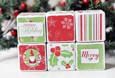 Decorative wooden blocks Snowy Christmas by birdsANDblossomsGift