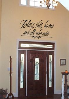 Bless Home and All Who Enter - Beautiful Wall Decals for your entry or right near your front door Vinyle Cricut, Entryway Decor, Wall Decor, Room Decor, Family Wall, Wall Patterns, Bead Patterns, Beautiful Wall, Vinyl Wall Decals