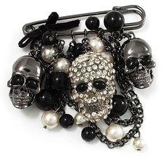 'Skull, Chain & Bead' Charm Safety Pin Brooch (Gun Metal Finish) - Catwalk - 2011 $72.24