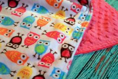 """$65 for 40""""x50"""", good questions portion Double Minky Baby Blanket  in Night Owl Carnival and Fuchsia Pink Minky - Personalization Options Available- Made To Order"""