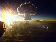 Tsar Bomba : the biggest nuclear explosion in history created a 7km wide fire ball ; it's light flash could be seen from 1000km