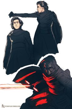 very quick Kylo Ren sketches! I think he's my fav TFA character