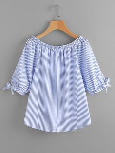 SheIn offers Boat Neckline Vertical Striped Tie Sleeve Blouse & more to fit your fashionable needs.Shop online for the latest boat-neckline-pinstripe at SHEIN. Girls Fashion Clothes, Girl Fashion, Fashion Outfits, Kurta Designs, Blouse Designs, Bluse Outfit, Blouse Models, Designs For Dresses, Shirt Refashion
