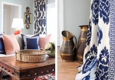 I want these in yellow  New office palate: Ikat Curtains in blue and white with red accents